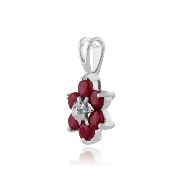 Floral Ruby & Diamond Pendant on Chain Image 2