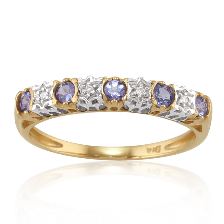 Classic Round Tanzanite & Diamond Eternity Ring in 9ct Yellow Gold