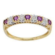 Amethyst and Diamond Eternity Ring Image 1