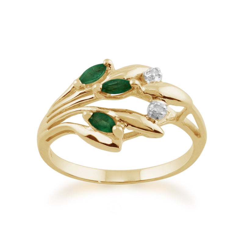 Emerald and Diamond Floral Ring Image 1