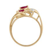 Ruby and Diamond Floral Ring Image 3