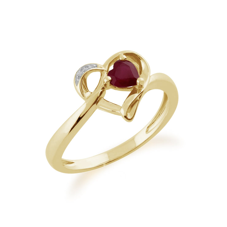 Gemondo 9ct Yellow Gold 0.29ct Ruby & Diamond Heart Ring Image 2