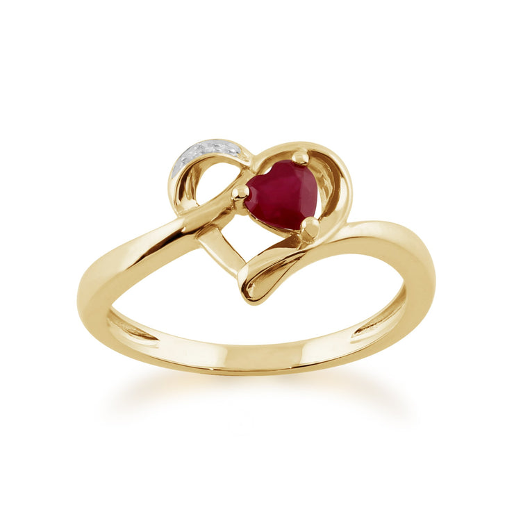 Gemondo 9ct Yellow Gold 0.29ct Ruby & Diamond Heart Ring Image 1