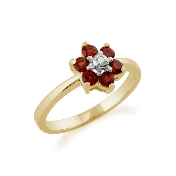 Gemondo 9ct Yellow Gold 0.56ct Mozambique Garnet & Diamond Floral Ring Image 2
