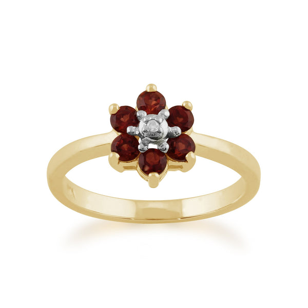 Gemondo 9ct Yellow Gold 0.56ct Mozambique Garnet & Diamond Floral Ring Image 1