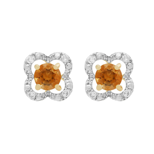 Classic Citrine Stud Earrings & Diamond Floral Ear Jacket Image 1