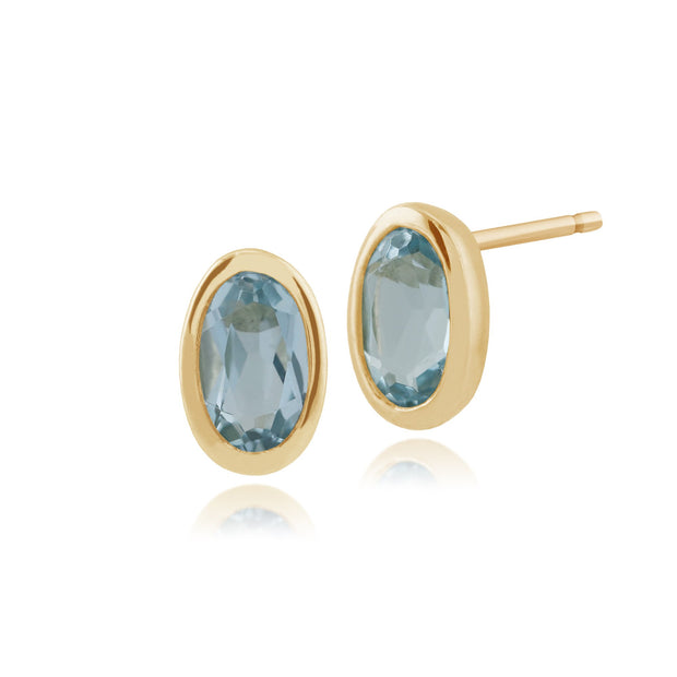 Classic Oval Blue Topaz Bezel Stud Earrings Image 1