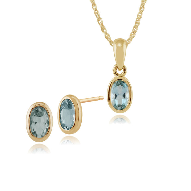 Classic Oval Aquamarine Bezel Stud Earrings & Pendant Set Image 1