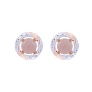 Classic Rose Quartz Stud Earrings & Diamond Round Earring Jacket Set Image 1