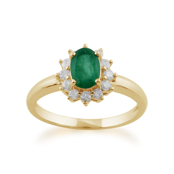 Emerald and Diamond Cluster Ring Image 1