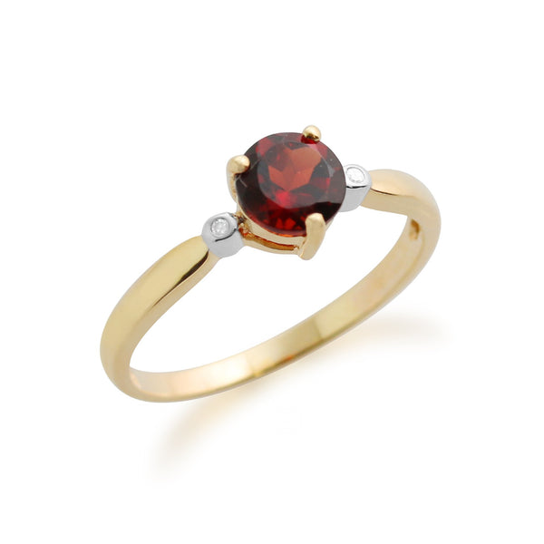 Gemondo 9ct Yellow Gold 0.78ct Garnet & Diamond Ring Image 2