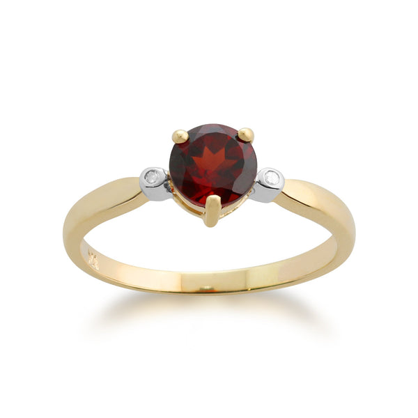 Gemondo 9ct Yellow Gold 0.78ct Garnet & Diamond Ring Image 1
