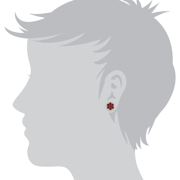 Floral Garnet Cluster Stud Earrings Image 2
