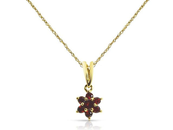 9ct Yellow Gold 0.32ct Garnet Floral Design Cluster Pendant on Chain Image
