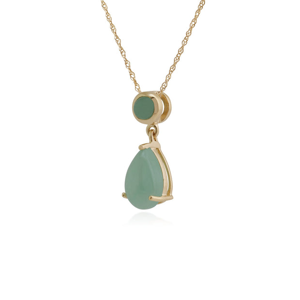 Classic Pear & Round Green Jade Pendant Image 2