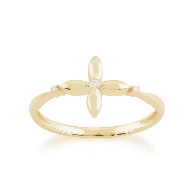 Gemondo 9ct Yellow Gold 0.02ct Diamond Ixora Flower Ring Image 1