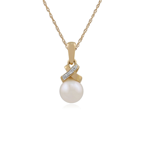 9ct Yellow Gold Pearl & Diamond Pendant on Chain Image