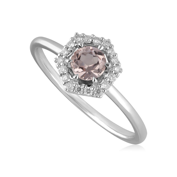 9ct White Gold 0.378ct Morganite & Diamond Halo Engagement Ring