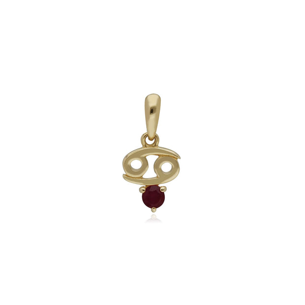 Ruby Cancer Zodiac Charm Necklace in 9ct Yellow Gold