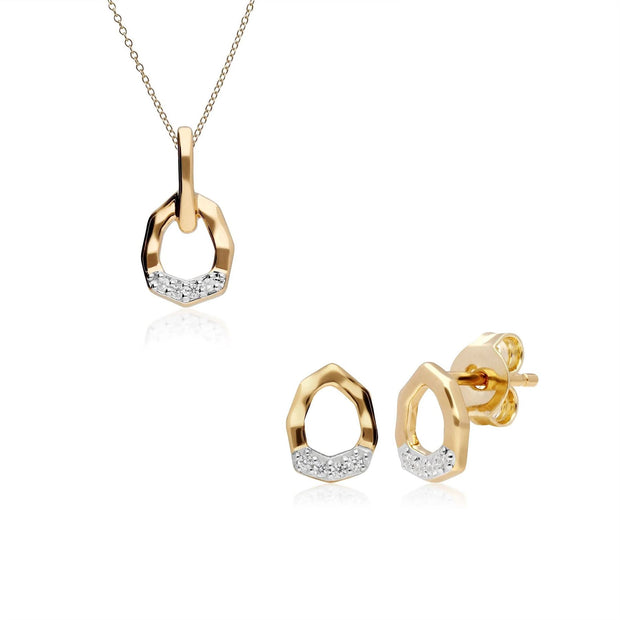 Diamond Pave Asymmetrical Pendant & Ring Set in 9ct Yellow Gold