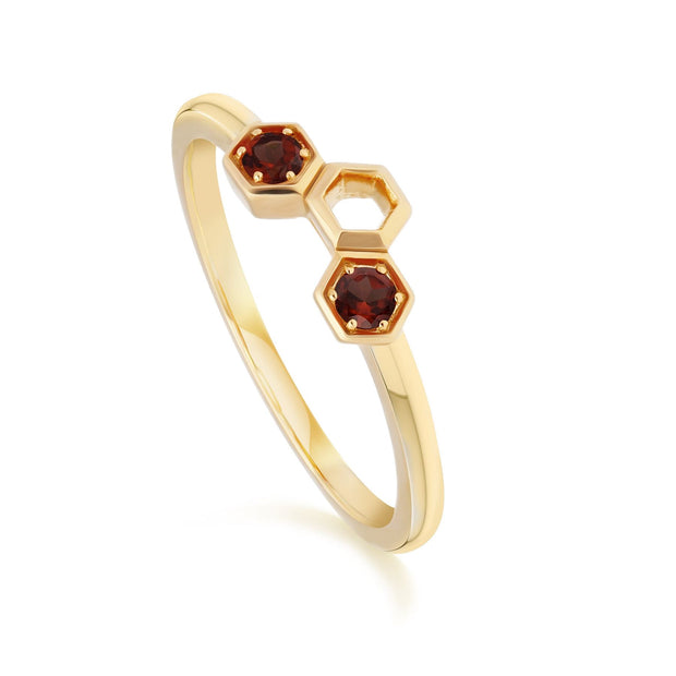 Honeycomb Inspired Garnet Stack Ring in 9ct Yellow Gold