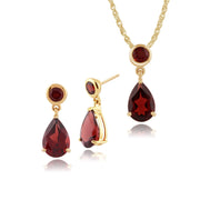 Classic Garnet Drop Stud Earrings & Pendant Set Image 1
