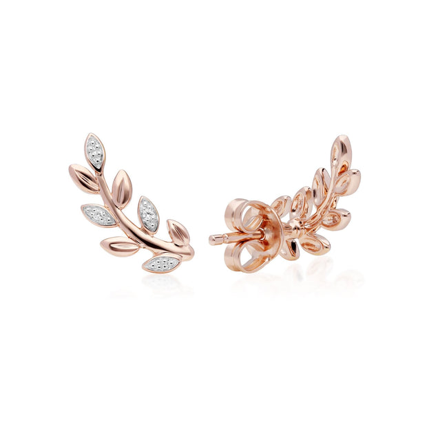 O Leaf Diamond Stud Earrings in 9ct Rose Gold