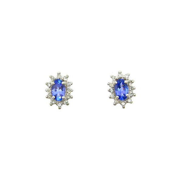9ct White Gold 0.42ct Tanzanite & Diamond Oval Cluster Stud Earrings Image