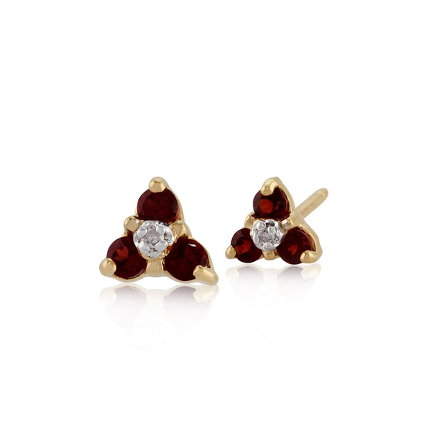 Floral Round Garnet & Diamond Cluster Stud Earrings in 9ct Yellow Gold