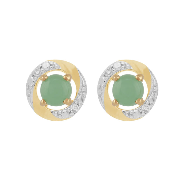 Classic Jade Studs & Diamond Halo Ear Jacket Image 1