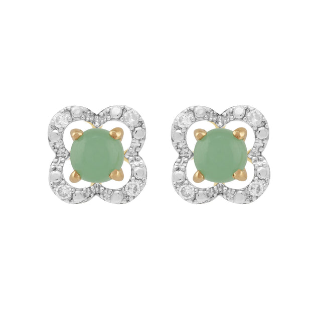 Classic Jade Stud Earrings & Diamond Floral Ear Jacket Image 1
