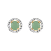 Classic Jade Stud Earrings & Diamond Round Earrings Jacket Set Image 1