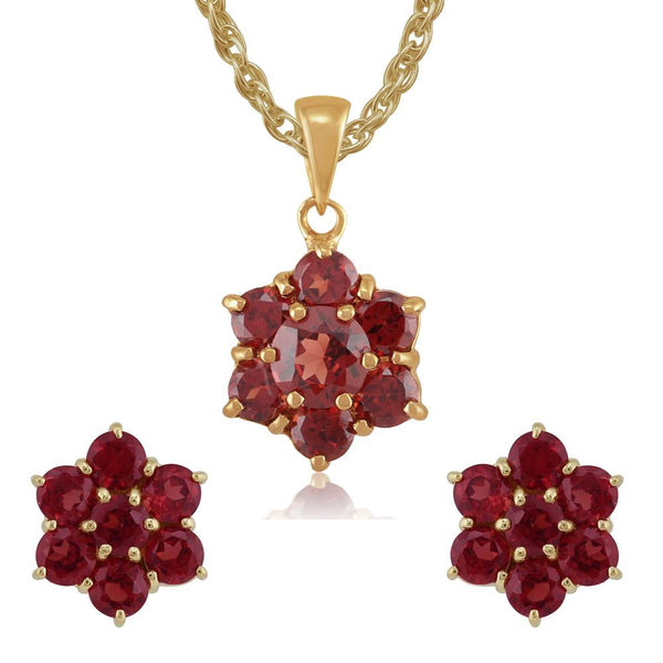 Floral Garnet Cluster Stud Earrings & Pendant Set Image 1