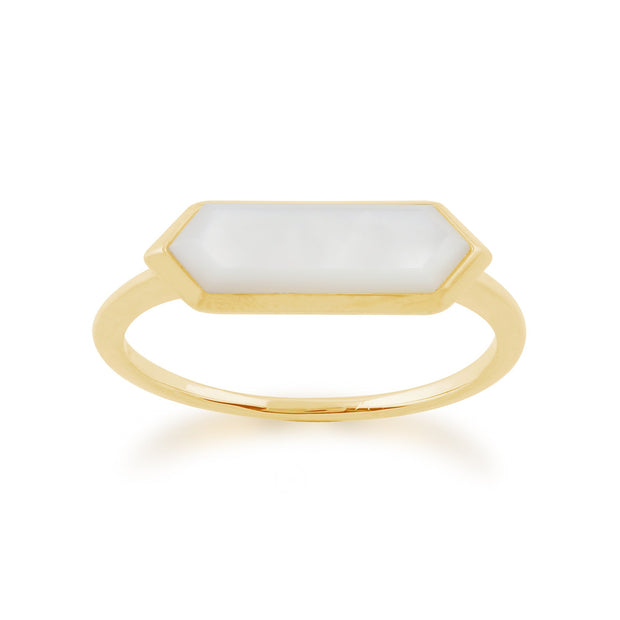 Gemondo 925 Gold Plated Silver 1.85ct Mother of Pearl Hexagonal Prism Ring Image 1