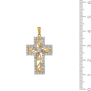 18ct Yellow Gold Diamond Cross Necklace Image 4