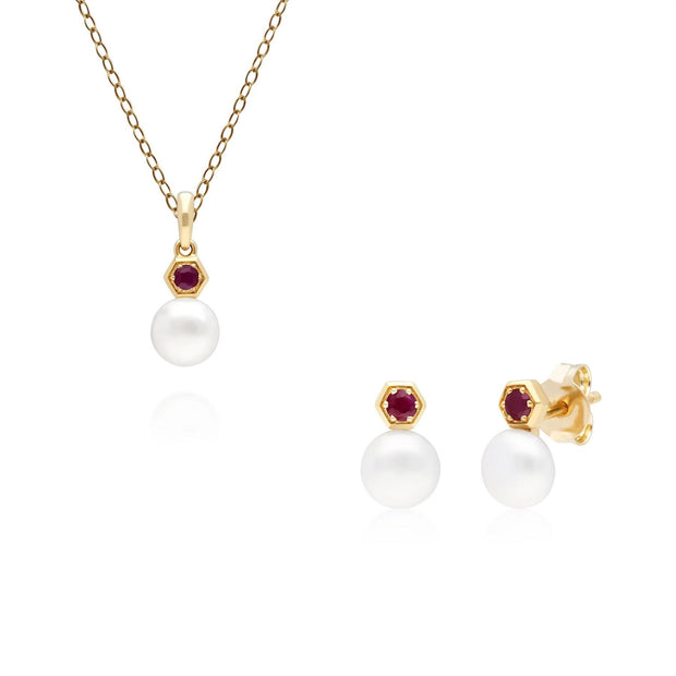 Modern Pearl & Ruby Earring & Pendant Set in 9ct Yellow Gold