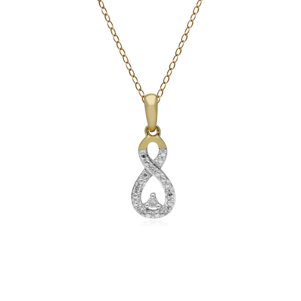 Classic Diamond Infinity Pendant in 9ct Yellow Gold