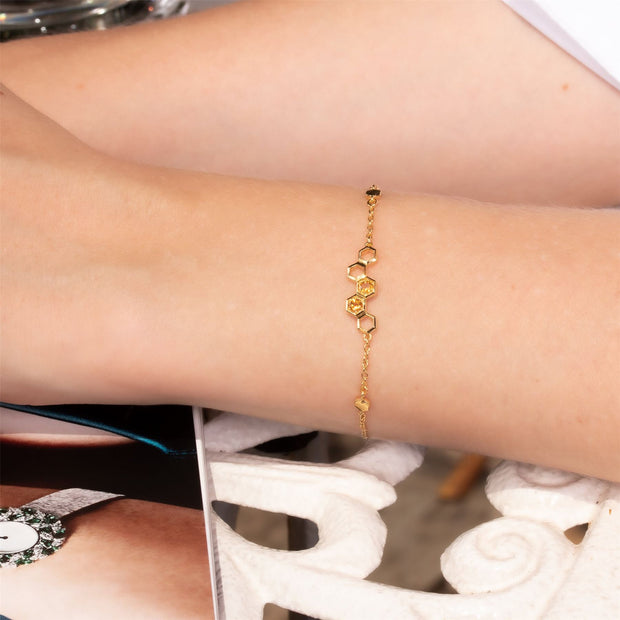 Honeycomb Inspired Citrine Link Bracelet in 9ct Yellow Gold