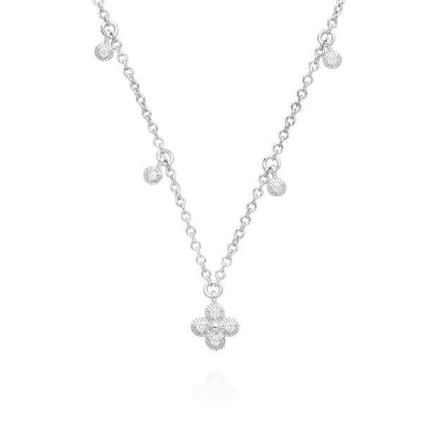 Diamond Flowers Choker Charm Necklace in 9ct White Gold