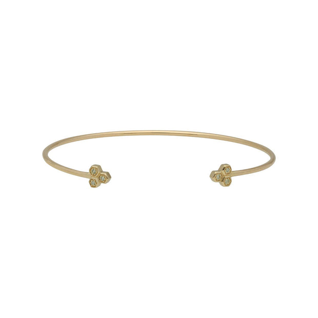 Peridot Trilogy Geometric Bangle in 9ct Yellow Gold