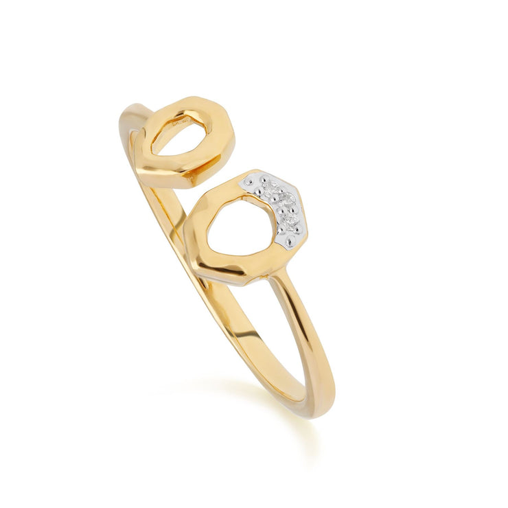Diamond Asymmetric Open Ring in 9ct Yellow Gold