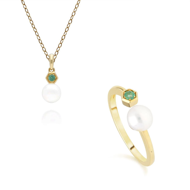Modern Pearl & Emerald Pendant & Ring Set in 9ct Yellow Gold