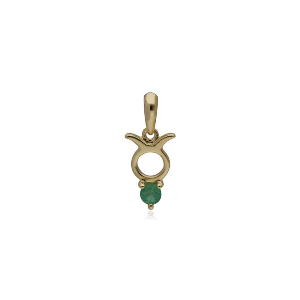 Emerald Taurus Zodiac Charm in 9ct Yellow Gold
