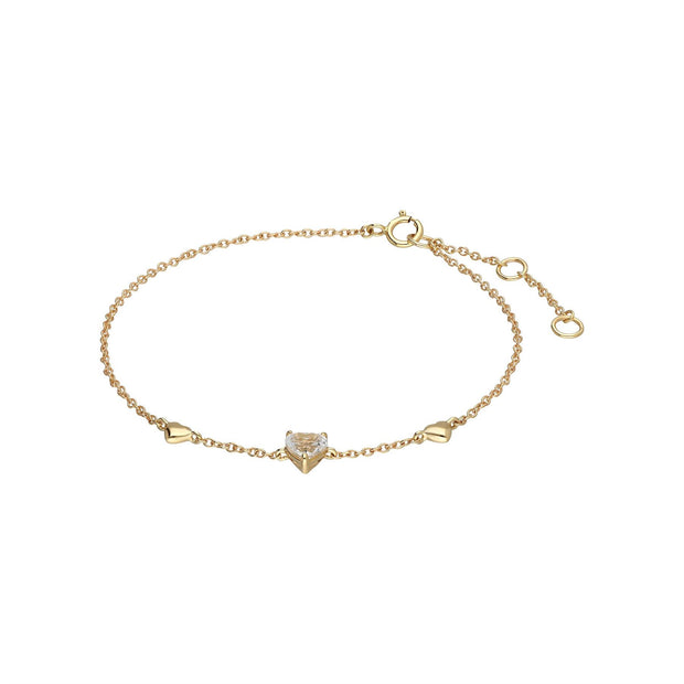 White Topaz Heart Bracelet in 9ct Yellow Gold