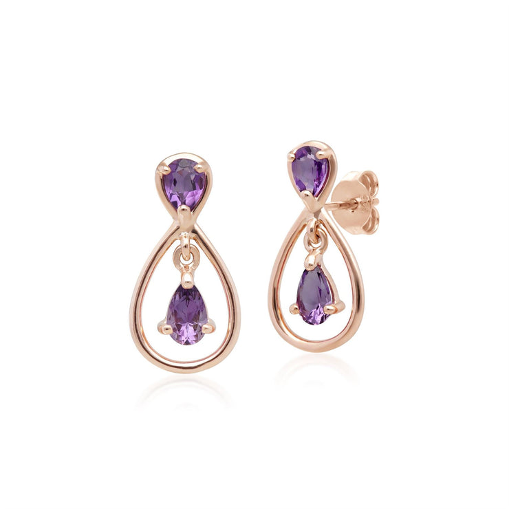 Classic Pear Cut Amethyst Drop Earrings in 9ct Rose Gold