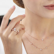 Diamond Geometric Trilogy Necklet in 9ct Rose Gold