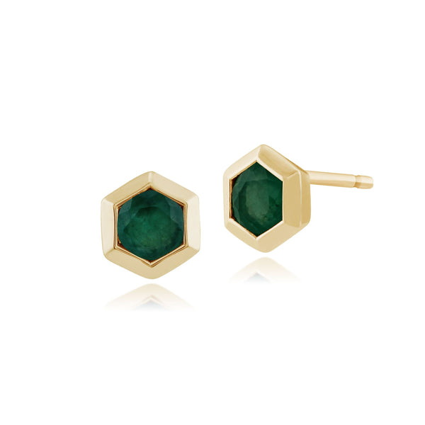 Geometric Hexagon Emerald Bezel Set Stud Earrings and Pendant in 9ct Yellow Gold