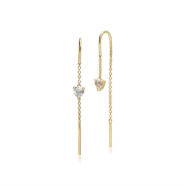 White Topaz Heart Threader Earrings in 9ct Yellow Gold