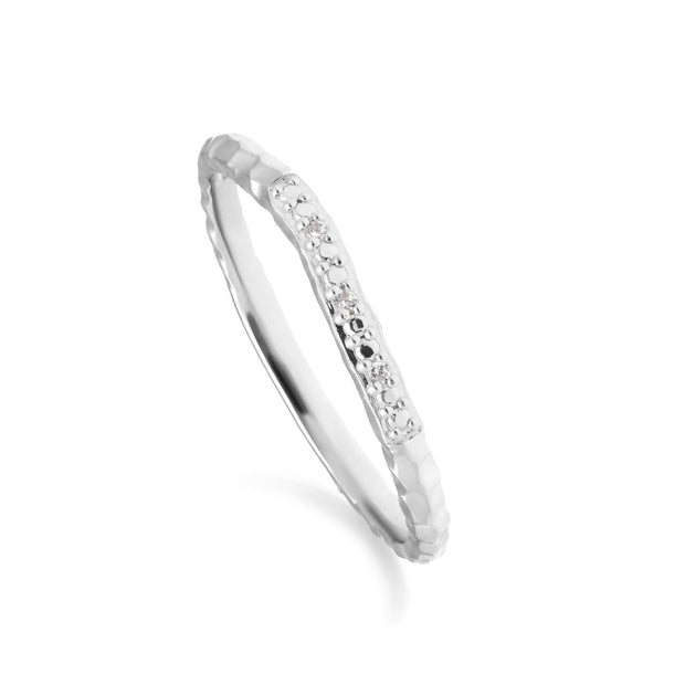 Diamond Pave Hammered  Band Ring in 9ct White Gold