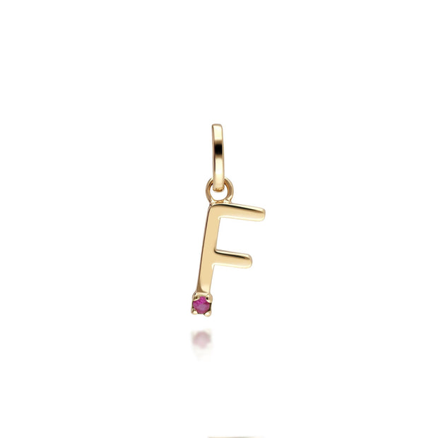 Initial F Ruby Letter Charm in 9ct Yellow Gold